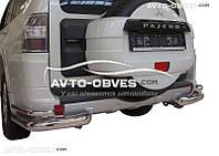 Защита заднего бампера для Mitsubishi Pajero Wagon IV. Углы двойные, нержавейка