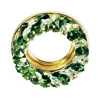 Точечный светильник золото, бирюзовый  и прозрачный кристалл CT710-GN GD
