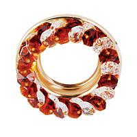 Точечный светильник золото, чайный и  прозрачный кристалл CT710-TEA GD