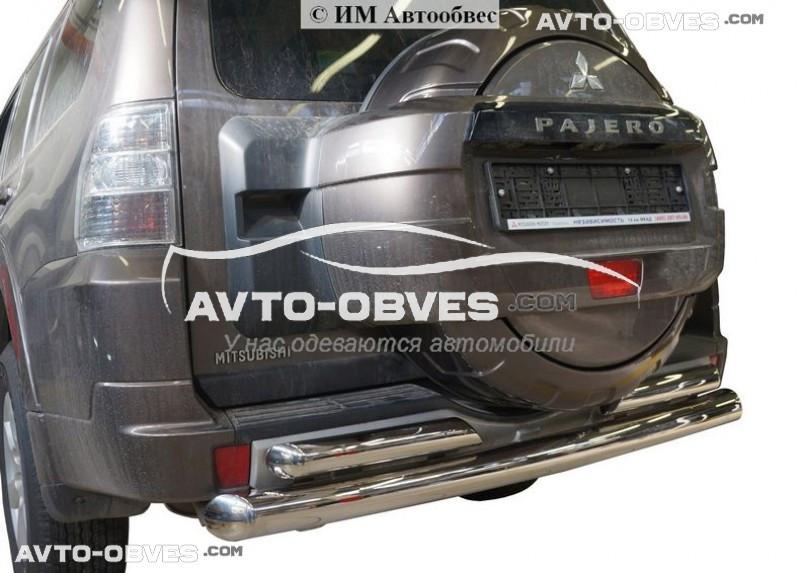 Защита задняя Mitsubishi Pajero Wagon IV. Прямая труба с доп защитой, нержавейка