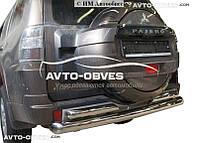 Защита заднего бампера Mitsubishi Pajero Wagon IV. Прямая труба с доп защитой, нержавейка