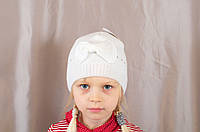 """Детская шапка """"Котик с бантиком"""" на девочку со стразами"""