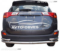 Защита заднего бампера Toyota Rav4 2013-2016 двойная