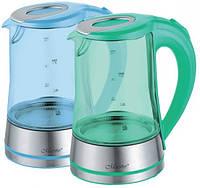 Электрический чайник Maestro 1,7 л (стекло) голубой, зеленый