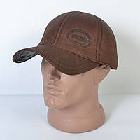 Мужская модная Кожанная теплая кепка на флисе с ушками - 29-506 (кофе)