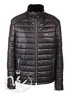 Зимняя кожаная куртка стеганая