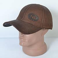 Мужская модная Кожанная теплая кепка на флисе с ушками - 29-507 (кофе)