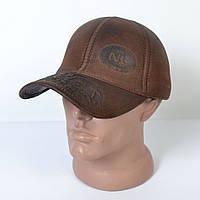 Мужская модная Кожанная теплая кепка на флисе с ушками - 29-508 (кофе)