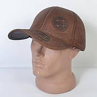 Мужская модная Кожанная теплая кепка на флисе с ушками - 29-509 (кофе)