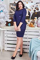 Платье из итальянской утолщенной замшевой ткани цвет синий