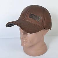 Мужская модная Кожанная теплая кепка на флисе с ушками - 29-510 (кофе)
