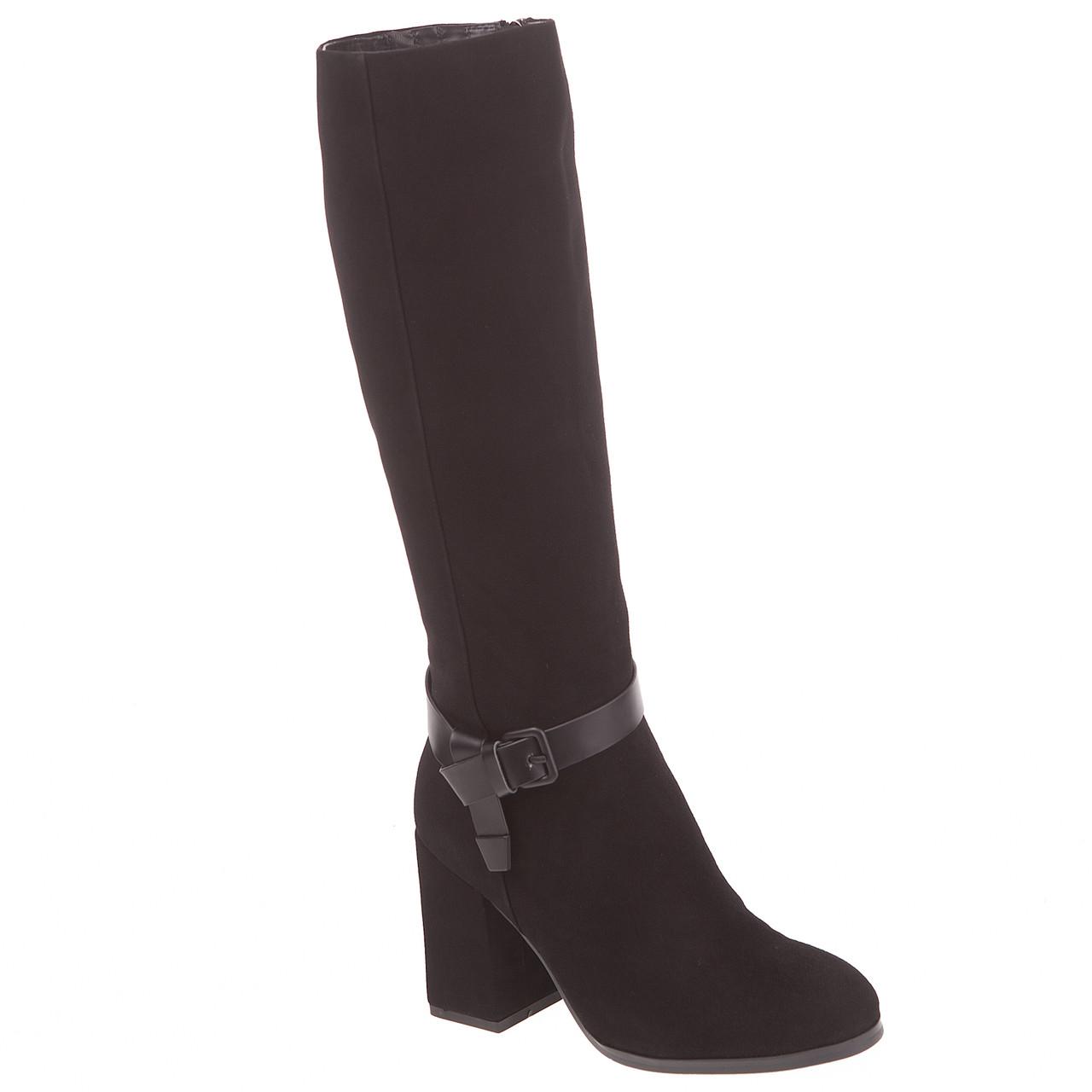 Сапоги женские Deenoor (черные, замшевые, на удобном каблуке, с  оригинальным ремешком) 4230bceecfa