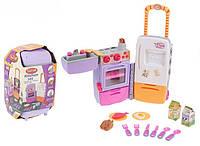 Детская игровая кухня для девочек «Холодильник-чемодан» 9911, колесики, посуда, продукты, свет, звук