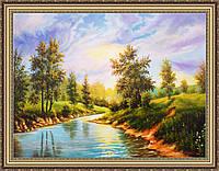 Картина Літній пейзаж. 300х400 мм №307 в багетній рамці