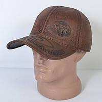 Мужская модная Кожанная теплая кепка на флисе с ушками - 29-512 (кофе)