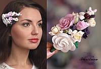 """Авторская заколка для волос с цветами """"Викторианские розы с фрезиями"""""""""""