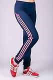 Спортивные штаны женские Три лампаса на манжете (синие), фото 2