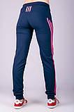 Спортивные штаны женские Три лампаса на манжете (синие), фото 3