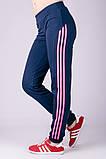 Спортивные штаны женские Три лампаса на манжете (синие), фото 4
