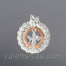 Кулон серебряный с золотом - Ангел