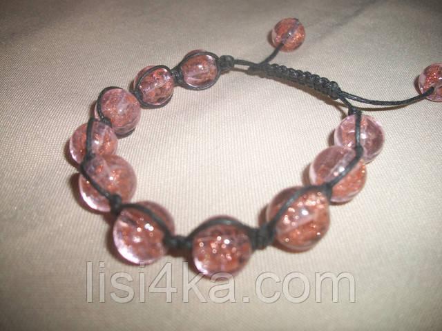 Браслет шамбала из венецианского стекла розового цвета
