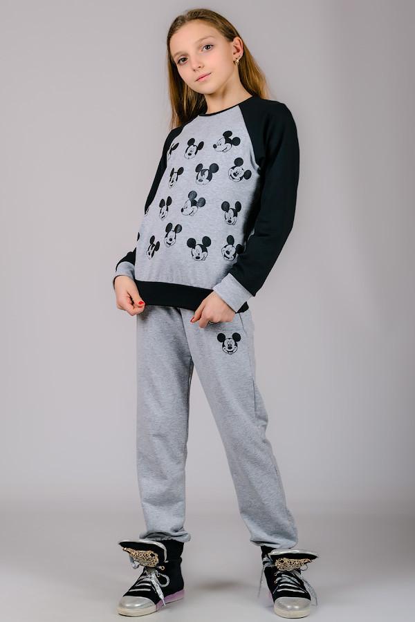 Детский трикотажный костюм Микки (серый)