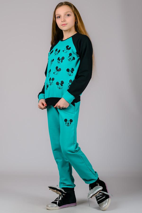 Детский трикотажный спортивный костюм Микки (бирюза)