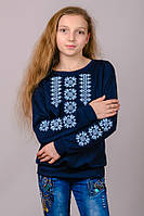 Трикотажный свитшот-вышиванка (темно-синий)