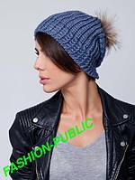 Вязанная шапка натуральный мех 6 цветов