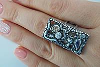 Кольцо серебряное в стиле бохо шик с фианитами