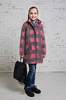 Пальто для девочки осенне-весеннее Клетка Б-1037