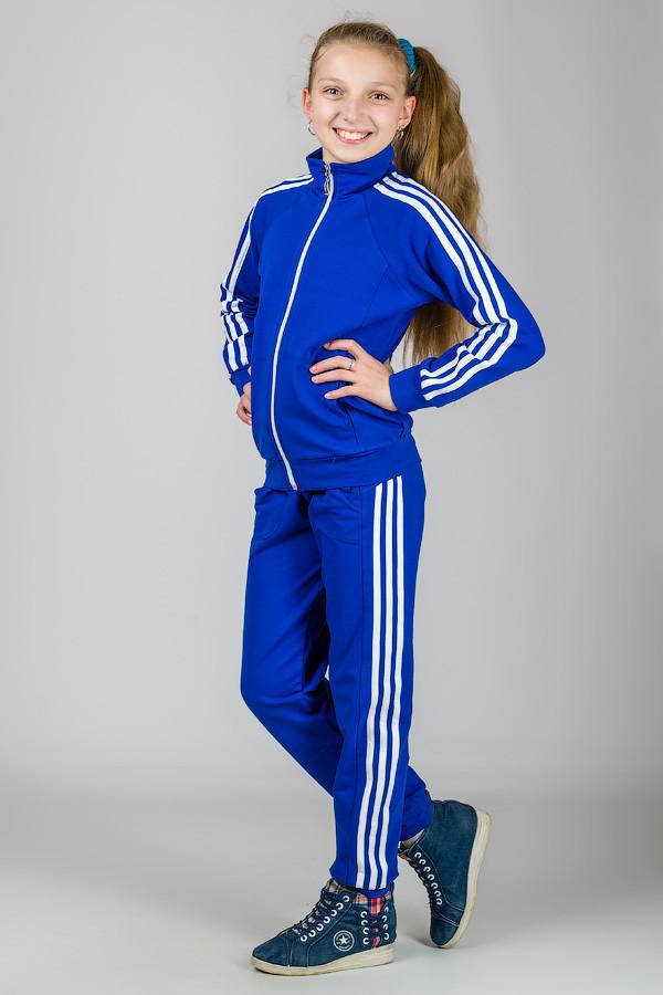 Подростковый спортивный костюм с лампасами (электрик + белый)