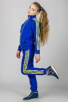 Трикотажный спортивный костюм с лампасами (электрик + лимон), фото 1