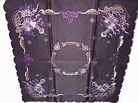 Стильна атласна фіолетова Новорічна Серветка 85-85 см, фото 1