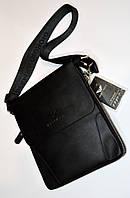 Мужская сумка черная через плечо на два отдела