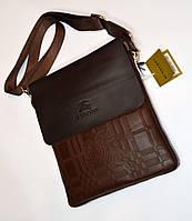 Мужская сумка коричневая через плечо на один отдел