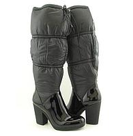 Женские брендовые  сапоги на каблуке из натуральной лаковой кожи и нейлона  Enzo Angiolini