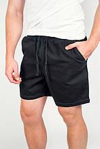 Удобные короткие мужские шорты из хлопка свободного кроя с поясом кулиской чернильные