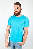 Удобная мужская футболка простого кроя с круглым воротником без принтов и рисунков голубая, джинс меланж, изумрудный меланж, корраловая, молочная,