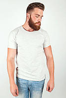 Удобная мужская футболка простого кроя с круглым воротником без принтов и рисунков молочный меланж, светло-серый меланж, синяя, темно-синий меланж,