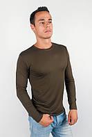 Привлекательный мужской свитер из приятного материала с круглым воротом без принтом и рисунков цвета хаки