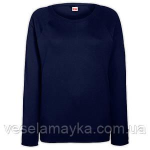 Глубоко темно-синий женский приталенный свитшот (Толстовка - реглан)