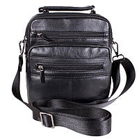 Мужская кожаная сумка с ручкой и через плечо черная