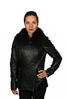 Утепленная кожаная куртка с мутоном и песцом
