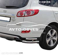 Защита заднего бампера для Hyundai Santa Fe II углы двойные (п.к. АК3)