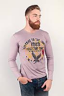 Стильный мужской батник простого облегающего кроя с необычным рисунком впереди бежево-розовый, голубой, оливковый, серый меланж, синий меланж,