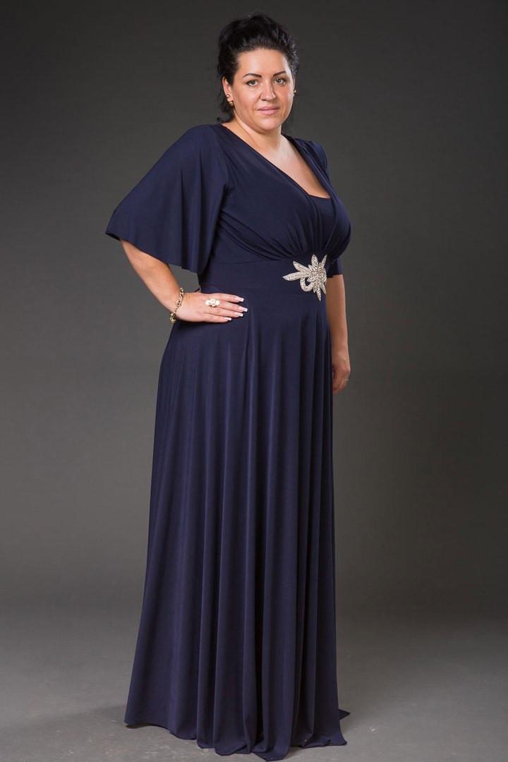 a5bc24e6d32 Элегантное женское платье в пол на поясе с украшением. Цвет темно синий.  БОЛЬШИЕ РАЗМЕРЫ