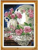 Розы в кувшине Набор для вышивки крестом с печатью на ткани 14ст