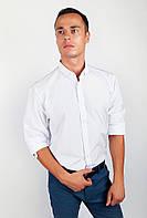 Привлекательная мужская рубашка приталенного кроя без лишних деталей белая, голубая, синяя, темно-синяя