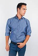 Модная мужская однотонная рубашка оригинального кроя с длинными рукавами джинс, кофейная, светло-бежевая, светло-синяя, серая, синяя